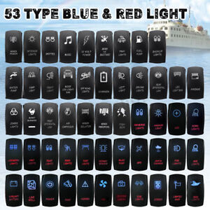 12V-24V-BLUE-amp-RED-Dual-LED-Rocker-Switch-ON-OFF-5-Pin-Car-Boat-Marine-4X4-4WD