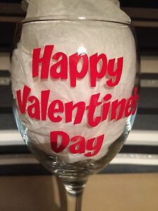 X2 Happy Valentine S Day Vinyl Decal Sticker Diy Glitter Wine Glass