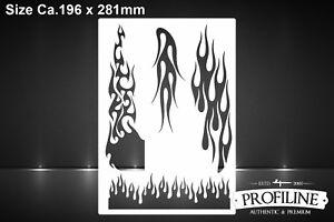 Profi-Airbrush-Schablone-fuer-Hot-Rod-Feuer-amp-Flammen-Flames-Fire-Stencil