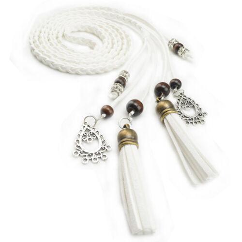 Women's Stylish Thin Belt Ladies Braided Tassel Knot Decor Dress Waistband