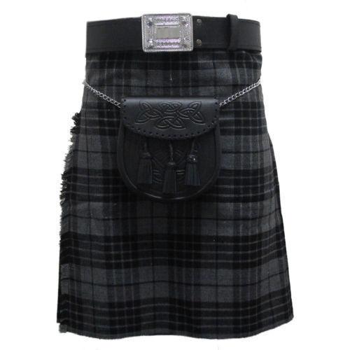 Scottish Black Grey Tartan Pleated to Sets Highland Traditional Active Men Kilts