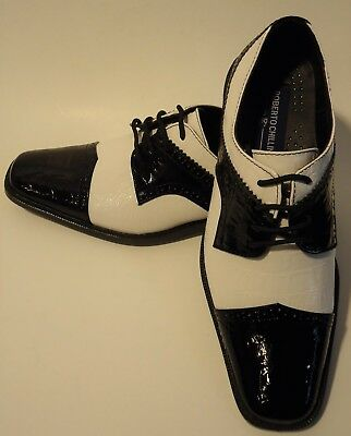 Mens Old School Royal Blue White Croco Look Dress Shoes Roberto Chillini 6744