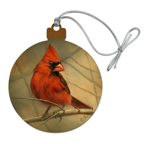 Cardinal Red Bird on Tree Branch Wood Christmas Tree Holiday Ornament