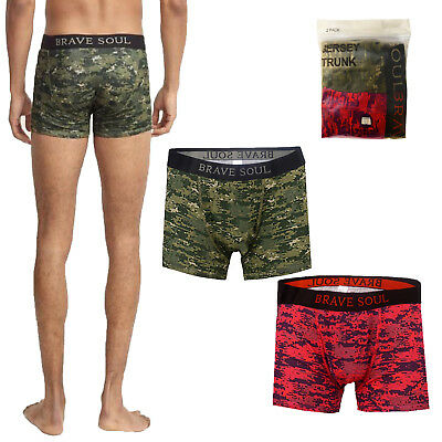 Brave Soul Mens Rory Camo Print 2 Pack Boxers Low Rise Cotton Jersey Twin Pants