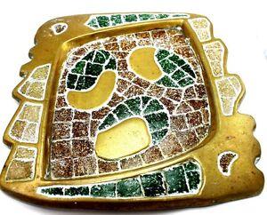 Vintage-MEXICO-Modernist-SALVADOR-TERAN-Brass-Stone-Inlay-ABSTRACT-Tray