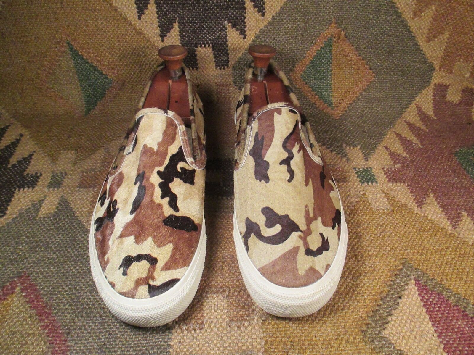 Sperry Top-Sider Jeffrey CVO 3 Tone Camo Fur Cow Hair Leather shoes 11.5M