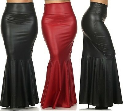 Women's Plus Faux Leather High Waist Slim Fitted Long Mermaid Flare Maxi Skirt