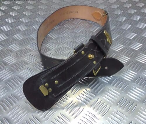 Genuine British Military Leather Sam Browne Belt With No Crossover Strap//Buckle