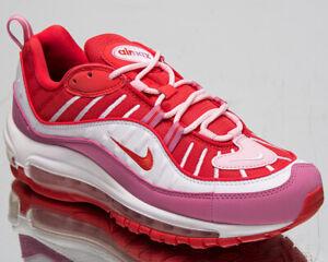 Detalles de Nike Air Max 98 Mujer Chándal Rojo Rosa Blanco Informal  Lifestyle Zapatillas