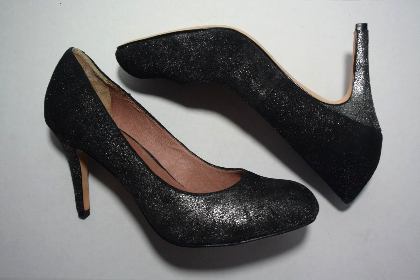Corso Como Sparkly Black Round Toe Leather High Heel Pumps Shoes Size 9.5