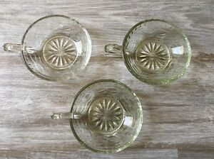 Vintage Cut Clear Glass Candy Nut Dessert Dish With Handle Lot of 3