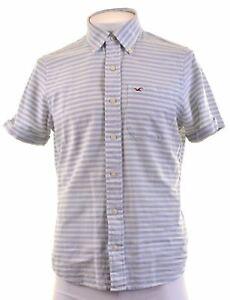 HOLLISTER-Mens-Shirt-Short-Sleeve-Medium-White-Striped-Cotton-AS07
