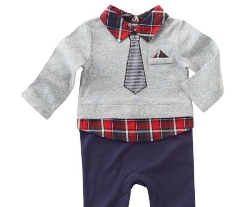 Boys MUD PIE long cotton navy blue shirt suit romper 0-3-6-9-12 months NWT tie