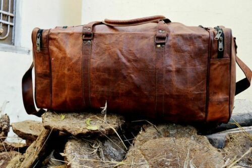 Tan Leather Duffle Bag steller Travel Weekend Luggage Overnight Carryon Handbag