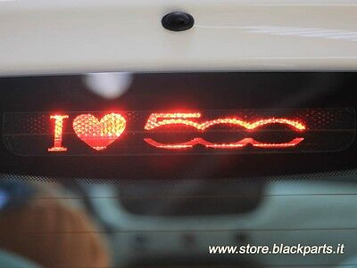 "FIAT 500 rear brake light sticker ""I LOVE 500"" decal black badge emblem logo"
