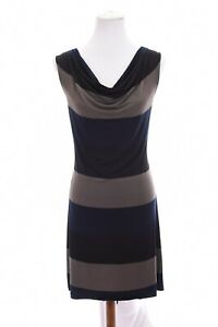 Chelsea-amp-Theodore-Draped-Shift-Dress-Stretch-Color-Block-Black-Blue-Sz-Medium