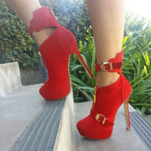 Details about  /Red Punk Women/'s Front Zip Buckle Strap Round Toe High Heel Ankle Boots Wedding