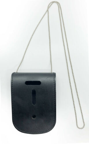 Black Leather Conceal Carry Badge Holder Neck Metal Chain Shield Lanyard