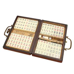 Chinese Mahjong Portable Retro Rare 144 Tiles Mah-Jong Set In Leather US