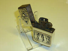 VINTAGE ANTIQUE 900 SILVER CASE & ZIPPO INLAY PETROL LIGHTER WW2 - 1950 RARE
