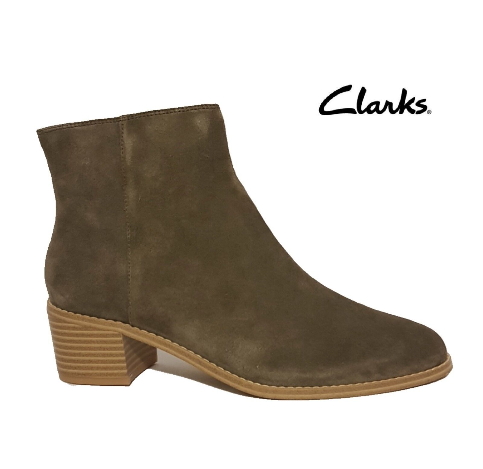 CLARKS BRECCAN MYTH   KHAKI GREEN GREY SUEDE LEATHER ANKLE BOOTS LADIES