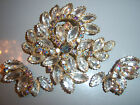AMAZING VTG JULIANA CLEAR FROST NAVETTE AB RHINESTONE BROOCH PIN EARRING SET