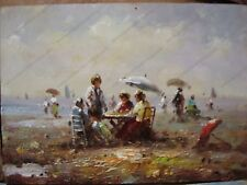 Original Handpainted Antique Oil Painting on Board Woman on Beach