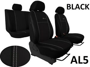 Black Eco-Leather Universal  Front Seat Covers for VW Caddy 2004-2015