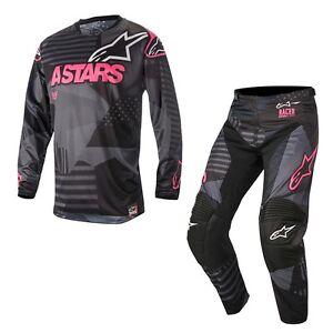 Talla-L-32-Set-Alpinestars-Racer-Tactica-Rosa-Fluo-Pink-Negro-Cross-Enduro