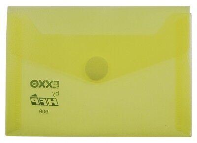 10x Dokumententaschen Umschläge Druckknopf A5 quer gelb transparent