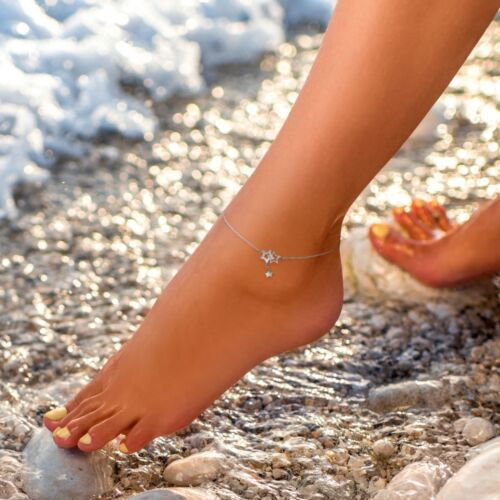 Fußkettchen mit Sternen silber Edelstahl Kette Knöchel elegant chic Stern Star