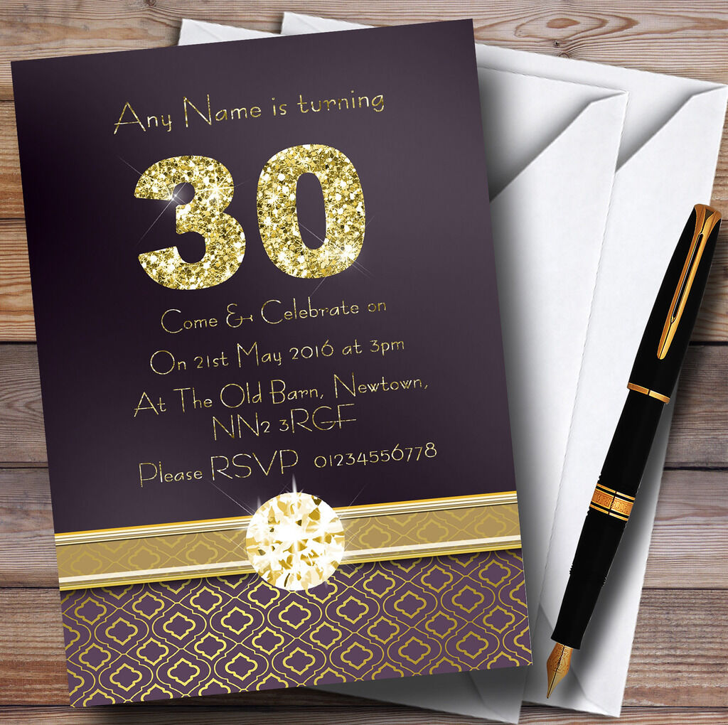 lila Satin And Gold 30Th Personalised Birthday Party Invitations