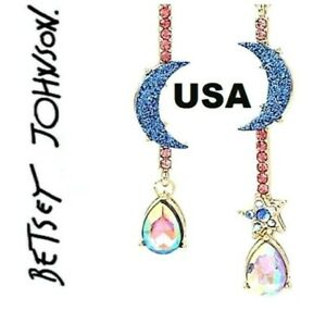 US-Seller-Betsey-Johnson-Crystal-Star-Moon-amp-Iridescent-Stone-Drop-Earrings