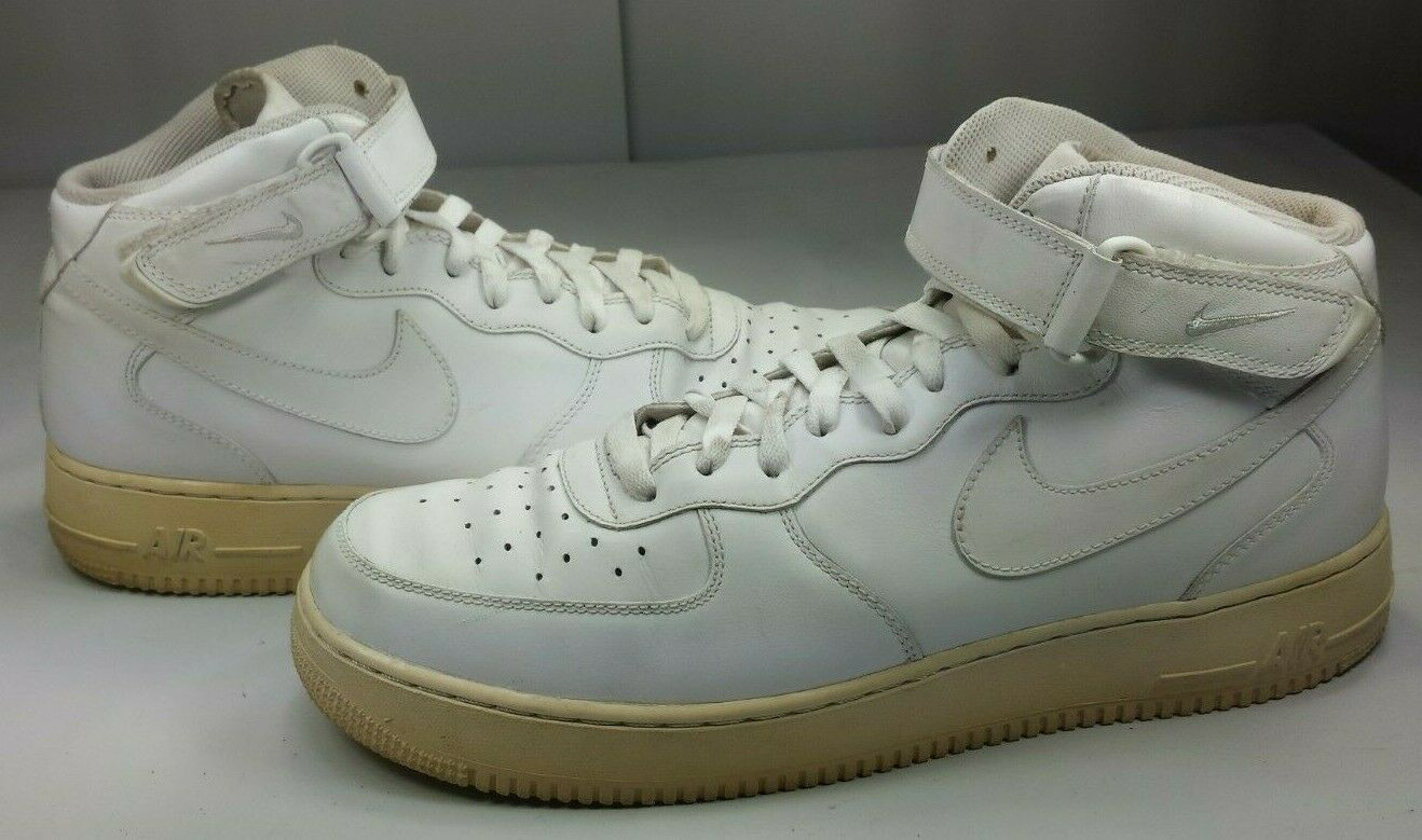 Nike Men's Air Force 1 High Top Basketball Sneakers White 2008 EUC  Size 13 47.5