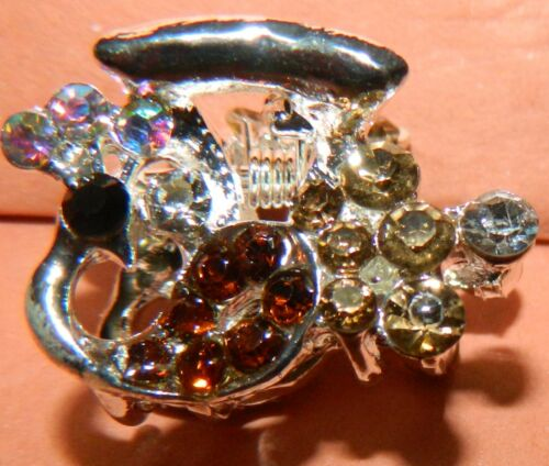 NWOT STOCKING STUFFER HAIR CLAMP CLAW PEACOCK WITH RHINESTONES