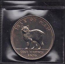 IOM Isle of Man Manx 1970 QE II 1 Crown  Manx Cat Uncirculated Sealet Wallet