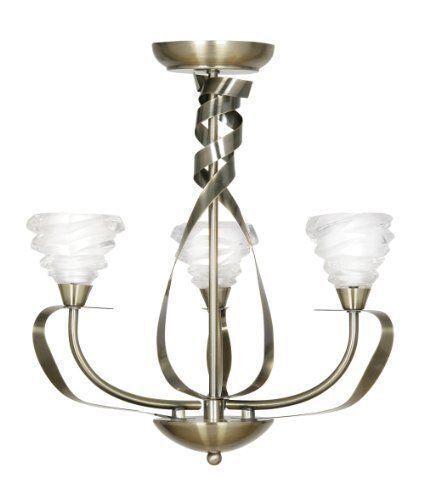 Antique Brass 3 Light Fitting With Chain Oaks Kirba 6050 3