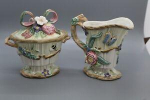 Fitz-and-Floyd-Classics-Woodland-Spring-Porcelain-Sugar-Bowl-w-Lid-and-Creamer