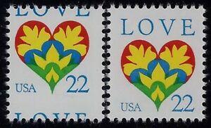 """2248 - 22c Misperf Error / EFO """"LOVE"""" Mint NH"""