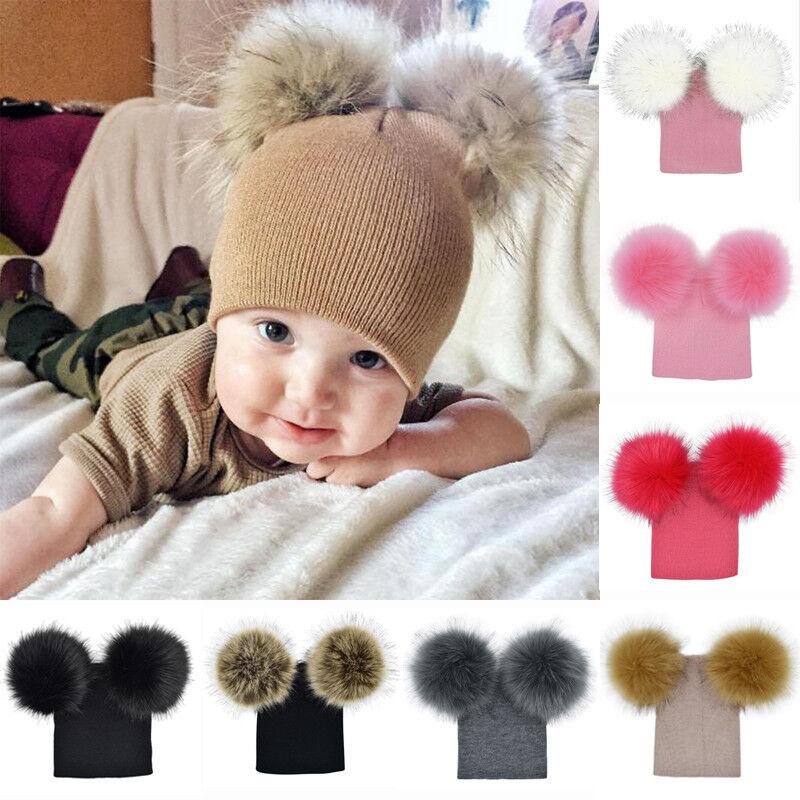 a7653a4c393 Baby Boys Girls Warm Fur Double Pom Pom Hat Winter Knit Bobble Beanie Cap  Xmas