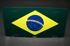 BRAZIL FLAG METAL ALUMINUM CAR LICENSE PLATE TAG  Bandeira do Brasil