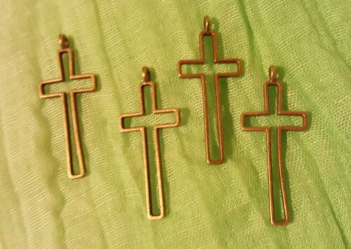 50 pcs Antique  Bronze Plated Cross Pendant Ships from USA Immediately