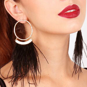 Women-Ostrich-Feather-Tassel-Drop-Dangle-Hoop-Earrings-Party-Jewelry-Clever