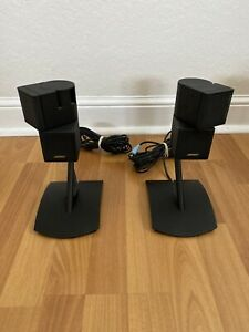 (2) Black Bose Double Cube Speakers Acoustimass Lifestyle Surround With Mounts