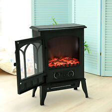 Freestanding Electric Fireplace Heater Black Stove w/ LED Flame Effect