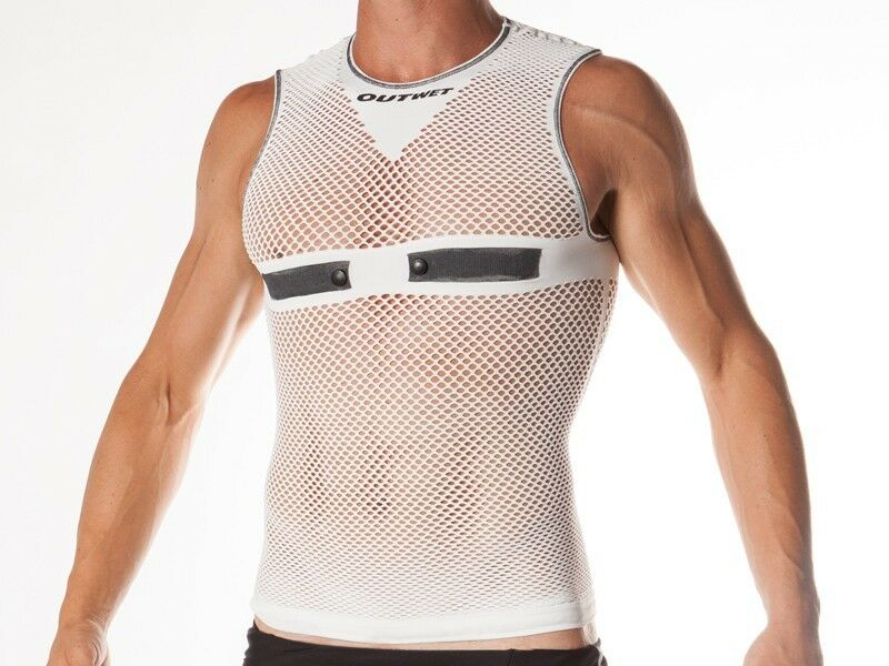 HC-LP1 Carbon, Cycling, Sleeveless BASE LAYER in White. Made in  by Outwet