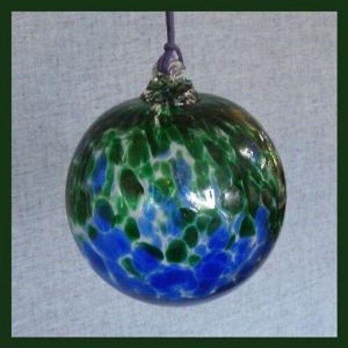 Hanging Glass Ball 4 Blue & Green Speckled (1) Friendship Ball HB71