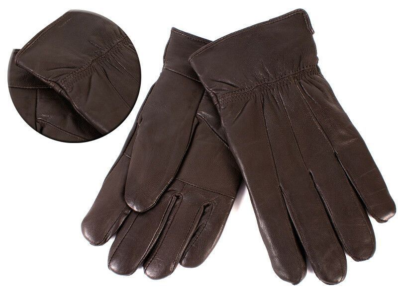 Mens Brown Soft Sheep Nappa Leather Gloves By Lorenz XL New And Sealed