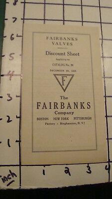 1933-15pgs Refreshing And Beneficial To The Eyes Price Guides & Publications Tools, Hardware & Locks Vintage Original Fairbanks Valves Discount Sheet Dec 29
