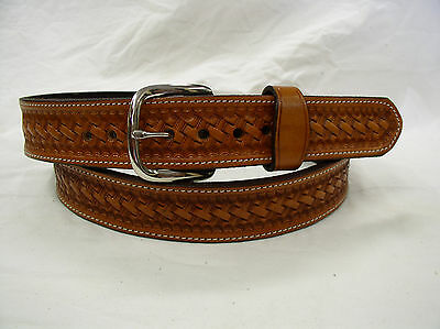 "Belt Tan Basket Weave 2 Ply Lined 1 1/2"" Heavy Duty Leather Gun Carry Holster"